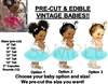 PRE-CUT Aqua and Silver Tulle Party Dress Baby Girl EDIBLE Cake Topper Image