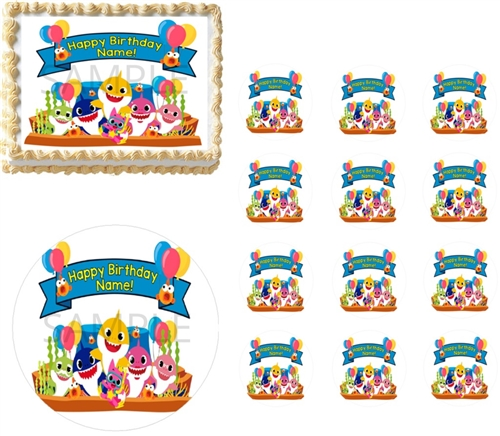 Swell Baby Shark Family Birthday Banner Edible Cake Topper Decoration Funny Birthday Cards Online Alyptdamsfinfo