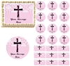 Girl Baptism Christening Religious Cross Edible Cake Topper Image Pink Damask