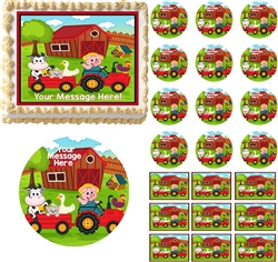 Barnyard Animals Farm House Edible Cake Topper Image Cake Decoration Cupcakes