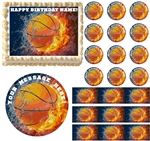 BASKETBALL on FIRE Water Sports Edible Cake Topper Image Frosting Sheet Cake Decoration Many Sizes