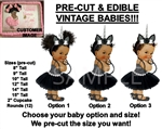 PRE-CUT Unicorn Princess Black Silver Tutu Ballerina Baby EDIBLE Cake Topper