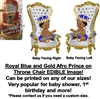 Royal Blue and Gold Afro Prince Throne Chair EDIBLE Cake Image Prince Baby Cake