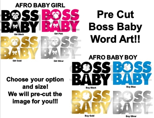 Pre Cut African American Boss Baby Girl Or Boy Words Edible Pre Cut Stickers Decals Decorations Boss Baby Words Puffs Boss Baby Words