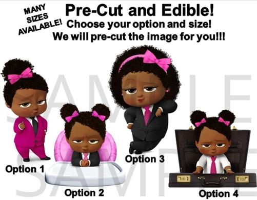 Pre Cut Hot Pink Fuschia Black African American Sassy Boss Baby Girl Edible Cake Topper Cupcakes Boss Baby Highchair Boss Girl Briefcase