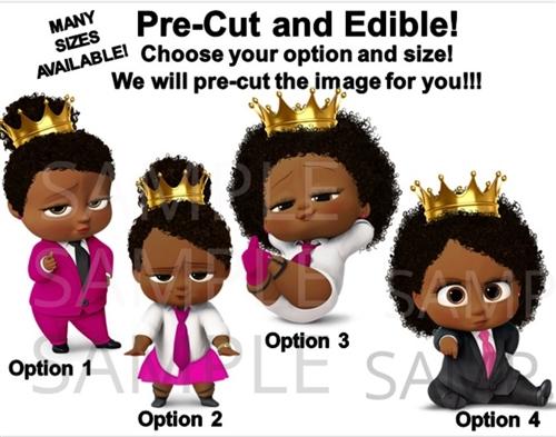Pre Cut Hot Pink Fuschia Black Royal African American Sassy Boss Baby Girl Edible Cake Topper Cupcakes Boss Baby Cupcakes Royal Boss Baby