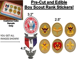 PRE-CUT Boy Scout Eagle Scout Ranks EDIBLE Cake Stickers | Court of Honor Cake | Edible Cake Stickers | Fondant Stickers | Boy Scout Cake