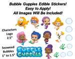 Bubble Guppies Edible PRE CUT Stickers, Bubble Guppies Edible Sticker Cake Decoration, Pre Cut Edible Stickers, Decal Transfers, Guppy Cake