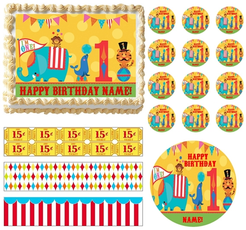 Circus Carnival First Birthday Animals Edible Cake Topper CIRCUS Strips All Sizes