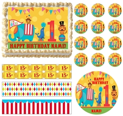 Circus/Carnival First Birthday Animals Edible Cake Topper CIRCUS Cake Strips-All Sizes!