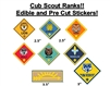 Pre Cut Cub Scout Boy Scout Ranks EDIBLE Cake Stickers Decals Toppers