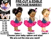 Pre-Cut Denim Shirt Hot Pink Ruffles Ballerina Baby EDIBLE Cake Topper Image