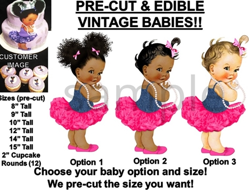 Cheap Price Pre-cut Mint Green Ballerina Baby Edible Cake Topper Image Ruffle Pants Baby Baking Accs. & Cake Decorating Kitchen, Dining & Bar