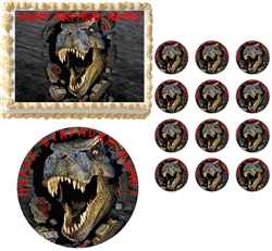 JURASSIC WORLD T REX Face Edible Cake Topper Image Frosting Sheet - All Sizes! NEW
