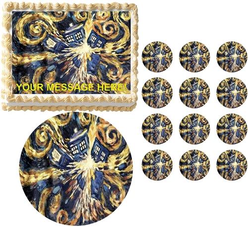 Doctor Who Van Gogh Tardis Exploding Edible Cake Topper Frosting