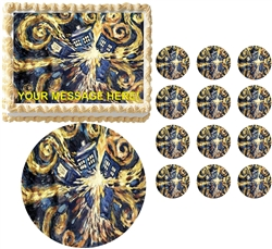 Doctor Who Van Gogh Tardis Exploding Edible Cake Topper Frosting Sheet - All Sizes!