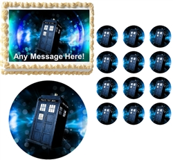 Doctor Who Tardis Party Edible Cake Topper Frosting Sheet - All Sizes!