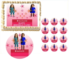 American Girl Dolls YOU Pick Which Dolls You Want Stars Edible Cake Topper Frosting Sheet - All Sizes!