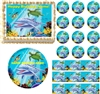 Dolphin Under the Sea Edible Cake Topper Image Cupcakes Ocean Baby Shower Edible