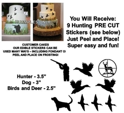 Duck Hunting Edible Pre Cut Stickers, Hunting Decals for Cakes, Hunting Cut Out Stickers, Bird Hunting Cake, Hunting Cake, Edible Stickers