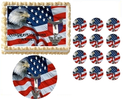 Eagle Scout Court of Honor Ceremony Flag with Ribbon Edible Cake Topper Frosting Sheet - All Sizes!