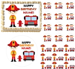 Firefighter BOY Fire Truck Theme Edible Cake Topper Image Frosting Sheet - All Sizes!