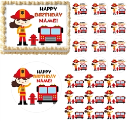 Firefighter GIRL Fire Truck Theme Edible Cake Topper Image Frosting Sheet - All Sizes!