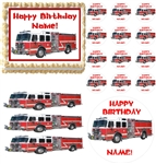 FIRE TRUCK Rescue Vehicles Party Edible Cake Topper Frosting Sheet - All Sizes!