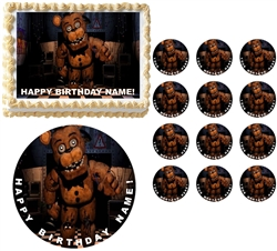 FIVE NIGHTS AT FREDDY'S Characters Edible Cake Topper Image Frosting Sheet FREDDY HAND