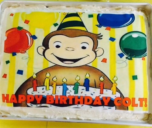 Curious George Party Edible Cake Topper Frosting Sheet