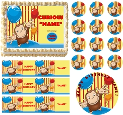 Curious George Birthday Party Edible Cake Topper Frosting Sheet - All Sizes!
