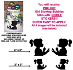 Girl Blowing Bubbles Silhouette Edible Cake Stickers Cake Cut Outs Edible Decals for Cake
