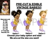 PRE-CUT Lavender Purple Gold Vintage Baby EDIBLE Cake Topper Image Afro Puffs