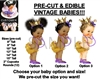 PRE-CUT Gold Ruffles Princess Baby Girl EDIBLE Cake Topper Image Purple Shoes