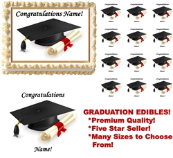 GRADUATION Class of 2017 Cap and Diploma Edible Cake Topper Image Frosting Sheet Graduation NEW