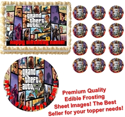 GRAND THEFT AUTO V GTA 5 Edible Cake Topper Image Frosting Sheet-All Sizes!