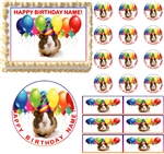 GUINEA PIG Wearing Party Hat Edible Cake Topper Image Frosting Sheet - All Sizes!