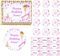 Tumbling Gymnastics Girls Edible Cake Topper Image, Gymnastics Edible Cupcakes