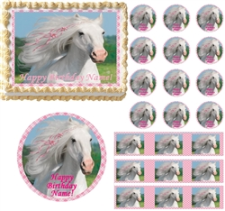 HEART MY HORSE Pink Pony Edible Cake Topper Image-Many Sizes Available! NEW