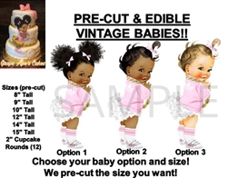 PRE-CUT 90's Hip Hop Pink and White Baby Girl EDIBLE Cake Topper Image Jacket