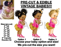 PRE-CUT Hot Pink Gold Ruffle Pants Nikes Baby Girl EDIBLE Cake Topper Image