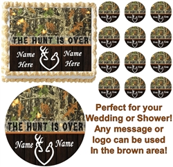 THE HUNT IS OVER Mossy Oak Camo Buck Doe Wedding or Shower Edible Cake Topper!MO