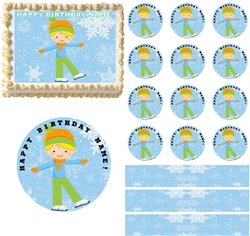 Ice Skating BOY Edible Cake Topper Image Cake Decoration Cupcakes Cookies Edible