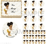 Ivory Peach and Gold Dark Skin Afro Baby EDIBLE Cake Image Ruffle Pants Baby