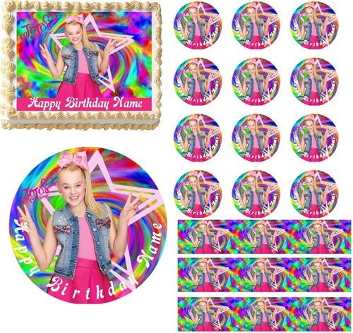 JoJo Siwa Rainbow Colors EDIBLE Cake Topper Cupcakes Sugar Sheet Decoration Larger Photo