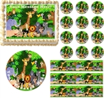JUNGLE SAFARI Animals Edible Cake Topper Image Frosting Sheet Baby Shower NEW