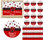 Red and Black LITTLE LADYBUG 1st Birthday Edible Cake Topper Image Frosting Sheet - All Sizes!
