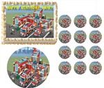 Lego Fire City Fire Truck Edible Cake Topper Frosting Sheet - All Sizes!