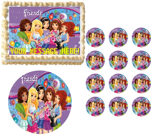 Lego Friends Party Edible Cake Topper Frosting Sheet All Sizes