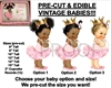 PRE-CUT Light Pink Princess Ballerina Baby EDIBLE Cake Topper Image Gold Crown